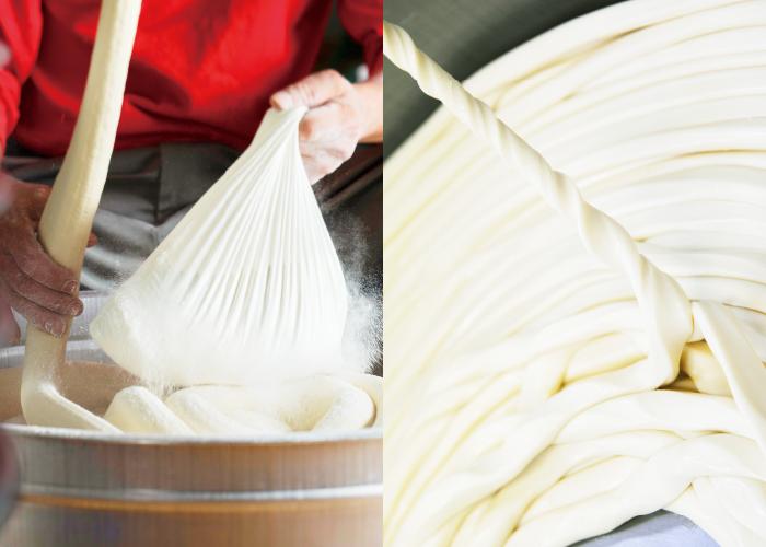 職人の技がつくる手延べ麺。コシの強さとのど越しを堪能